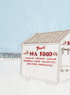 Oh I do like to be beside the sea series: seafood hut, A4 print