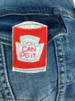 You can do it brooch – red