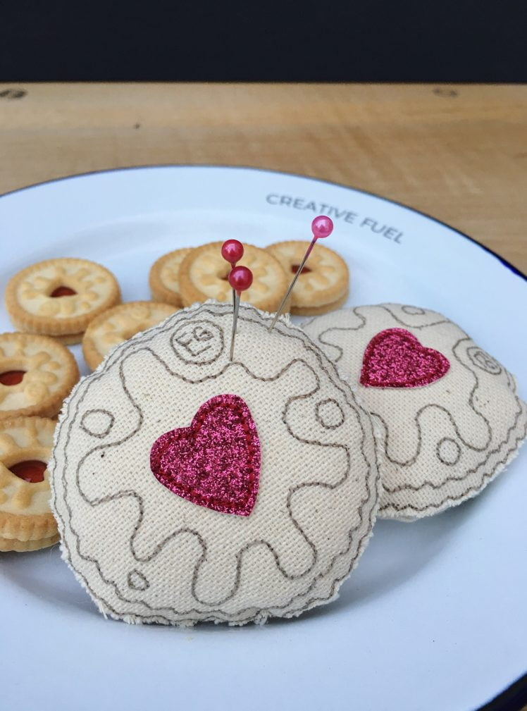 Jammy dodger pin cushions on creative fuel plate
