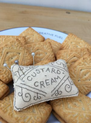 Custard Cream pin cushion