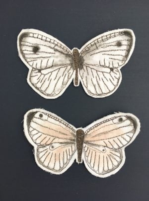Embroidered butterfly decals B – set of two