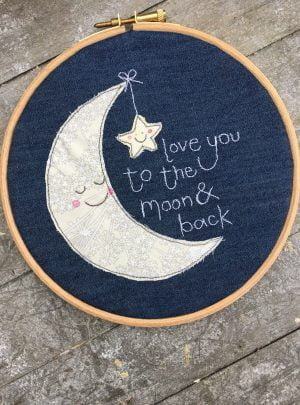 Love you to the moon and back nursery hoop