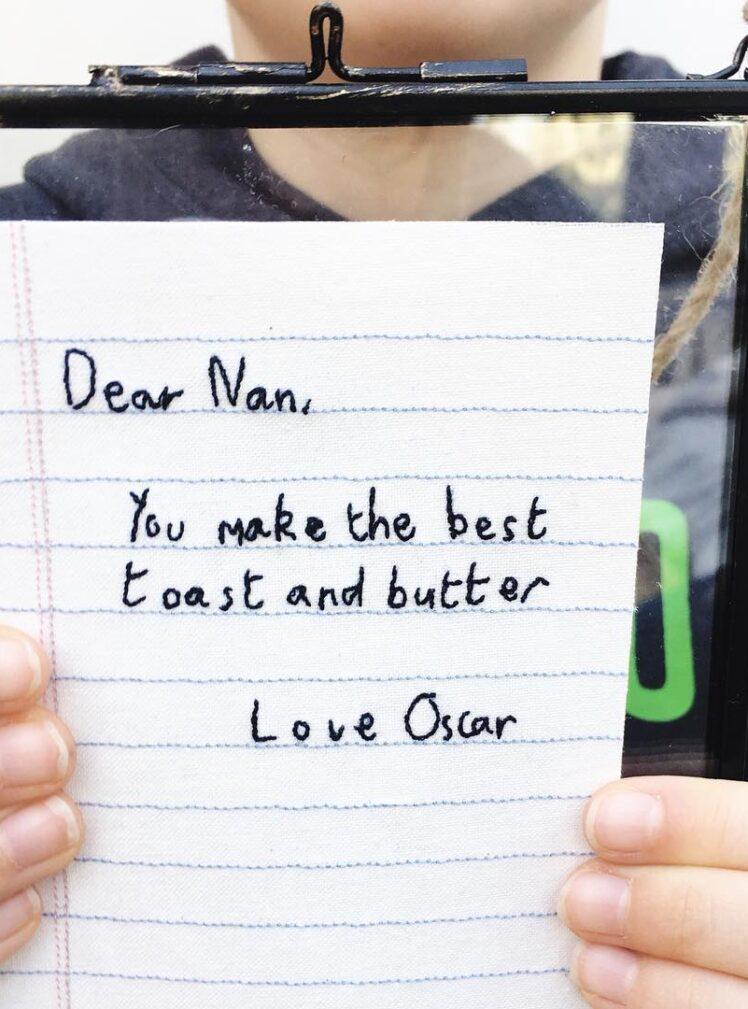 Embroidered handwritten note