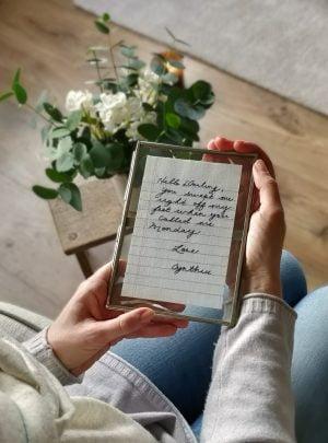Valentine's embroidered handwritten note