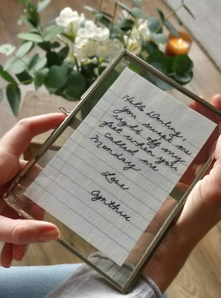 Valentine's handwritten love note closeup