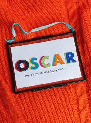 Personalised embroidered rainbow name picture