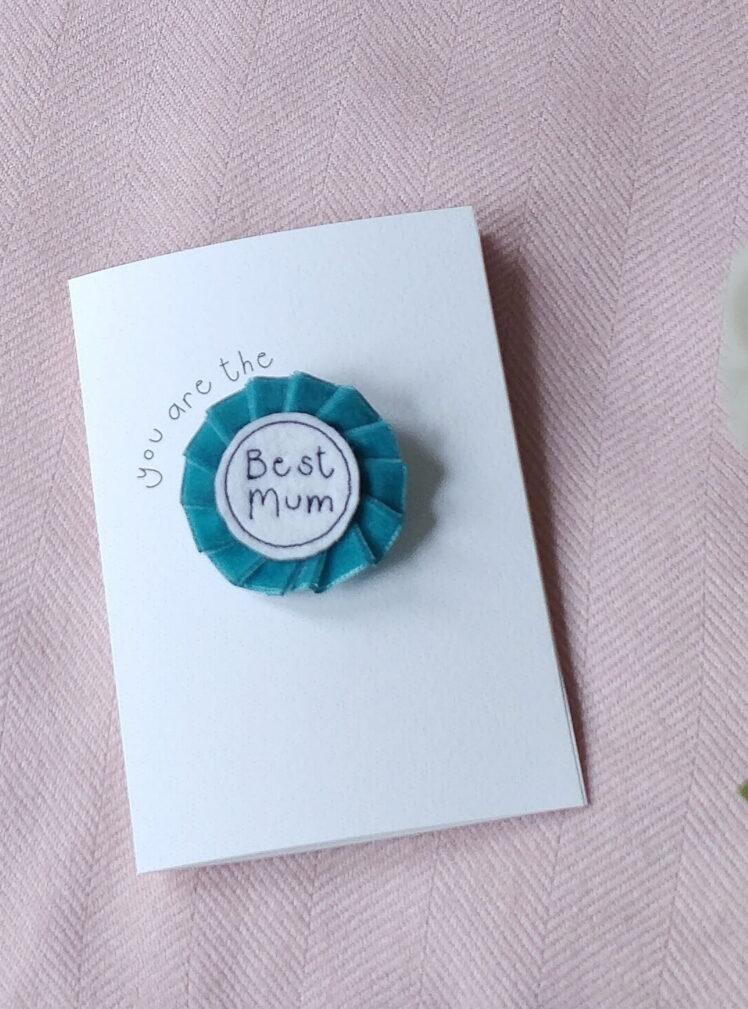 Mother's day velvet rosette brooch card