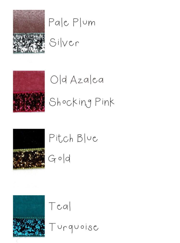 velvet glitter ribbon swatches