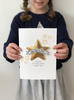 Star patch personalised greetings card