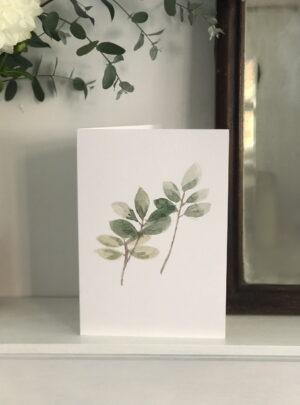 Watercolour leaf greetings card