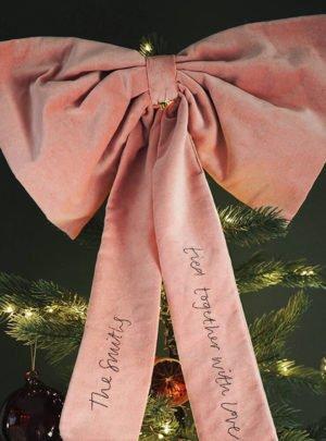 Personalised Christmas velvet tree topper bow
