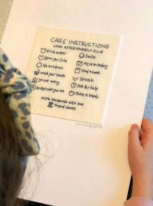Personalised care instructions artwork