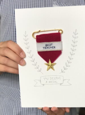 Embroidered medal best teacher